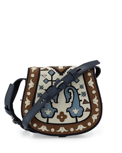 Mini Patchwork Leather Saddle Bag, Ivory/Tan/Navy