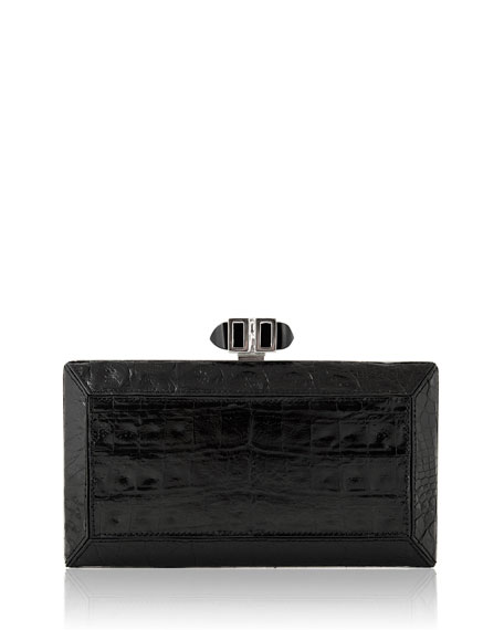 Coffered Crocodile Minaudiere, Black