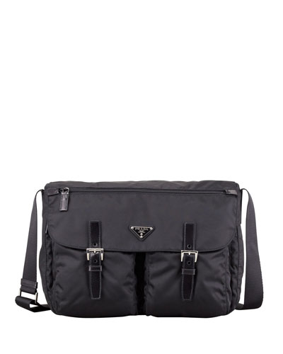 Vela Medium Buckled Crossbody Bag, Black (Nero)
