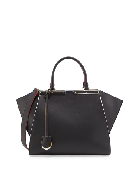 Fendi 3 Jours Medium Leather Satchel Bag, Black