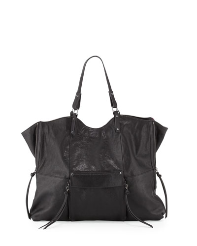 Everette Leather Tote Bag, Black
