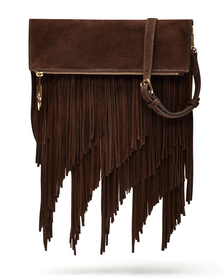 Elizabeth and James Andrew Suede Fringe Clutch Bag,