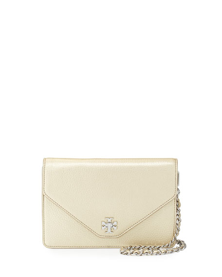 Tory Burch Kira Metallic Leather Envelope Clutch Bag,