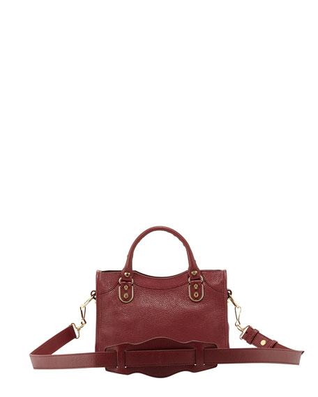 Classic Metallic Edge City Mini Goatskin Satchel Bag, Dark Red