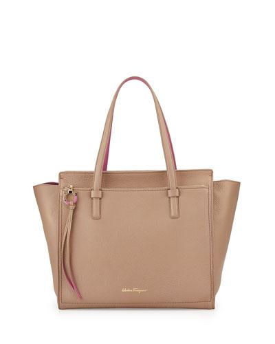 Amy Gancio Large Leather Tote Bag, Nutmeg/Anemone