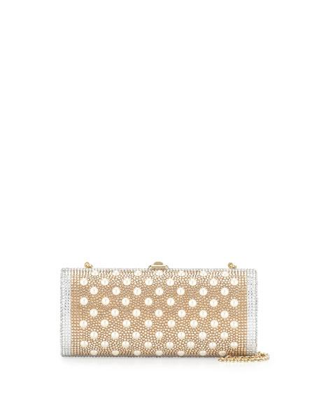 Gala Crystal Cylinder Clutch Bag, Champagne Multi