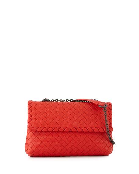 Bottega Veneta Baby Olimpia Intrecciato Shoulder Bag, Red