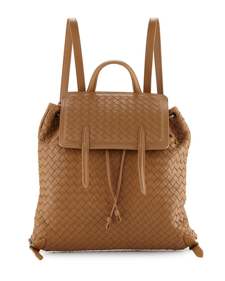 Bottega Veneta Medium Intrecciato Leather Backpack, Camel