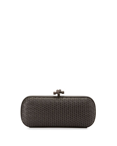 Small Stretch Knot Clutch Bag, Gray/Black