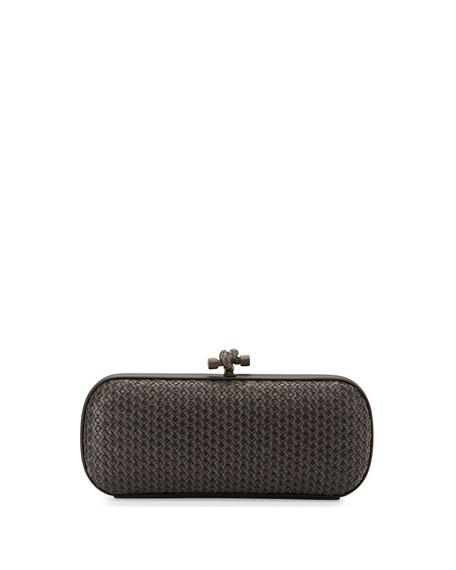 Bottega Veneta Small Stretch Knot Clutch Bag, Gray/Black
