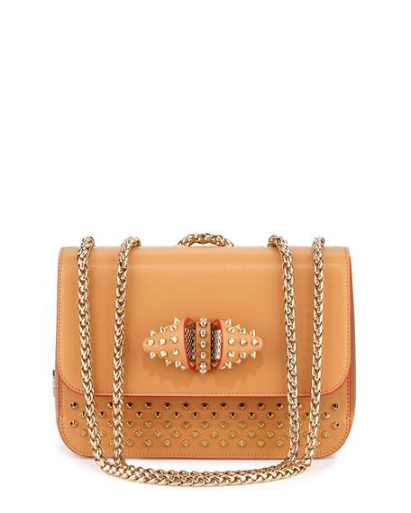 Christian Louboutin Sweet Charity Medium Calfskin Shoulder Bag, Red/Tan