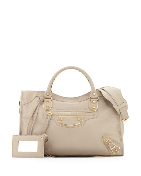 Balenciaga Metallic Edge Golden City Bag, Taupe
