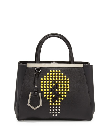 Fendi 2Jours Petite Lightbulb Satchel Bag, Black/Yellow