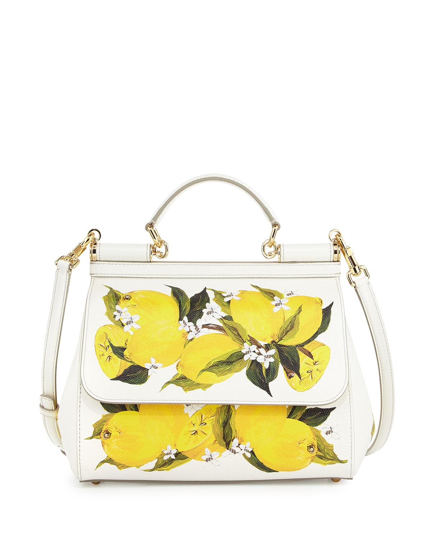 898e770574fc Dolce   Gabbana Miss Sicily Large Lemon-Print Satchel Bag