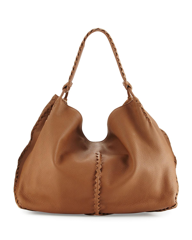 743159714ef Bottega Veneta Cervo Large Leather Shoulder Bag, Dark Brown   Neiman ...