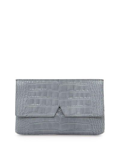 Crocodile-Embossed Medium Clutch Bag, Chambray