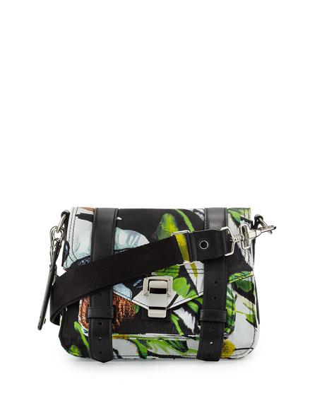 Proenza Schouler PS1 Nylon Tropical-Print Pouch Bag, Ecru/Multi