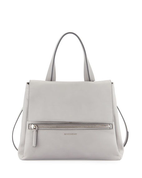 Givenchy Pandora Pure Medium Calf Leather Satchel Bag, Gray