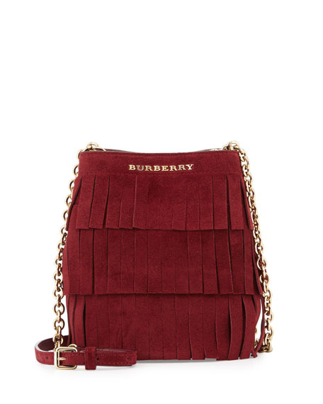 Burberry Baby Bucket Fringed Suede Bag, Cherry