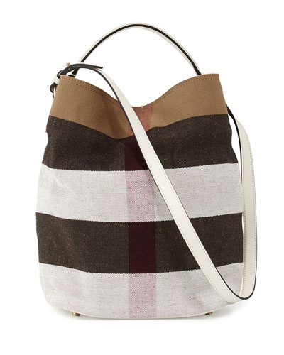 Ashby Medium Mega Check Bucket Bag, White