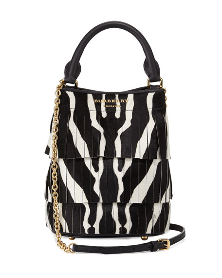 Burberry Prorsum Animal-Print Small Bucket Bag W/Fringe, Black