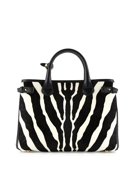 Burberry Banner Medium Animal-Print Calf Hair Tote Bag