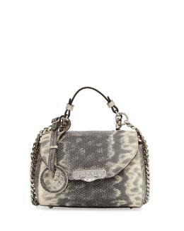 Embossed-Leather Side Zip Wallet, Gray/Tan