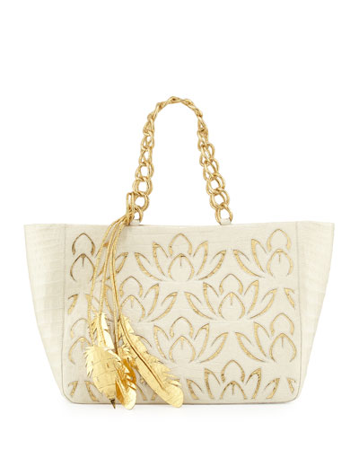 Lotus Leaf Crocodile Tote Bag, Cream/Gold