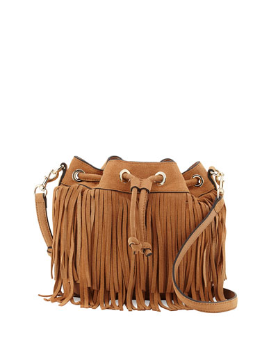 Mini Fiona Suede Fringe Bucket Bag, Cuoio
