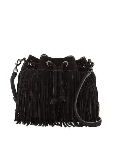 Mini Fiona Suede Fringe Bucket Bag, Black