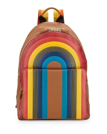 Rainbow Calfskin Leather Backpack, Caramel