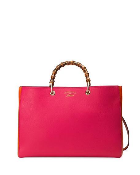 Gucci Bamboo Large Shopper Tote Bag, Fuchsia/Orange