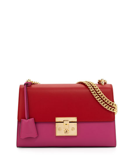 Gucci Linea C Leather Lock Shoulder Bag, Red/Pink