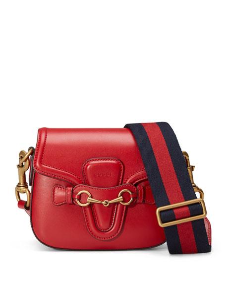 Gucci Lady Web Medium Leather Shoulder Bag, Red