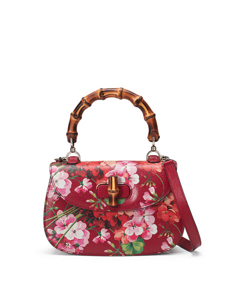 Gucci Bamboo Classic Blooms Small Top-Handle Bag, Red