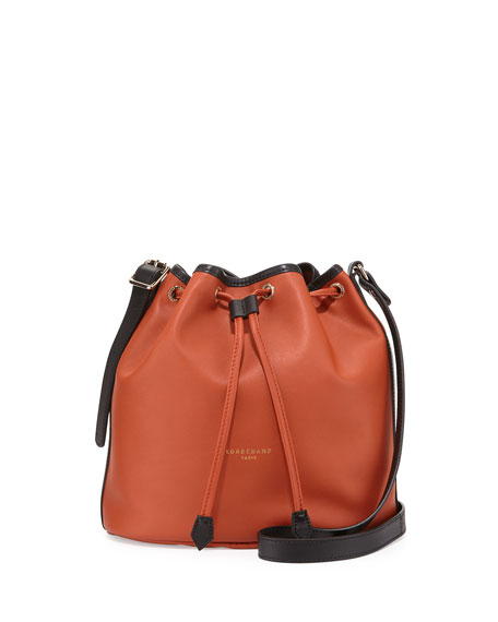 2.0 Small Leather Bucket Bag, Terra/Black