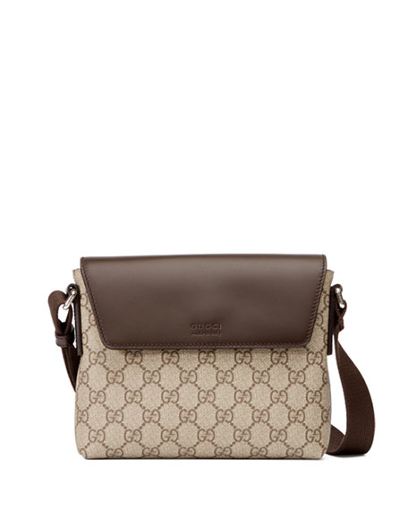 Gucci Eden GG Supreme Leather-Trim Messenger Bag, Brown