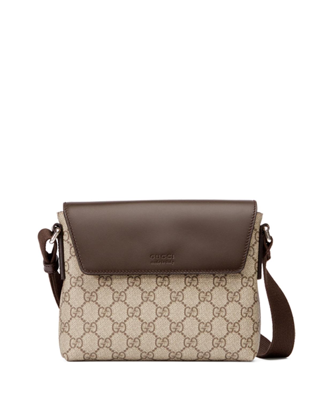 527d72cf8e2040 Gucci Eden GG Supreme Leather-Trim Messenger Bag, Brown | Neiman Marcus