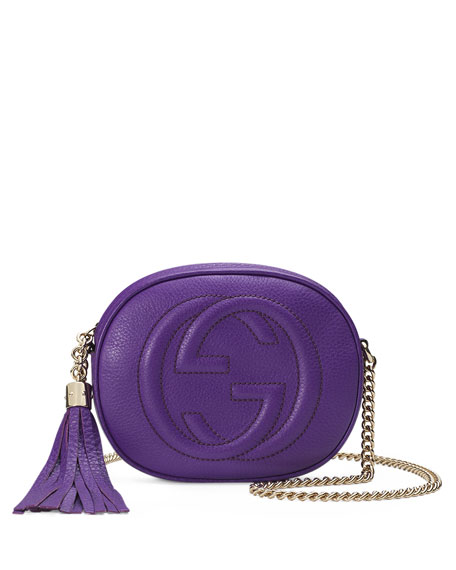Soho Leather Mini Chain Bag, Purple