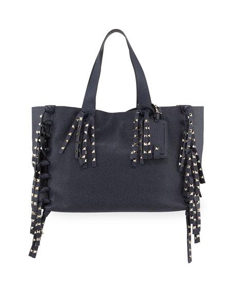 Valentino C-Rockee Studded Fringe Leather Tote Bag, Denim Blue