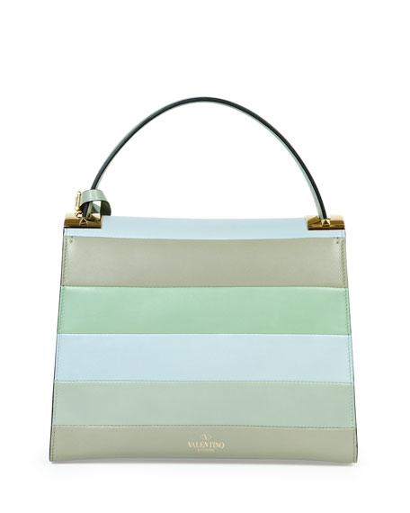 My Rockstud Striped Satchel Bag, Green Multi