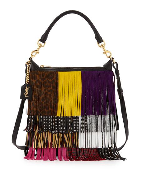 Saint Laurent Emmanuelle Small Leather Fringe Hobo Bag, Black/Multicolor