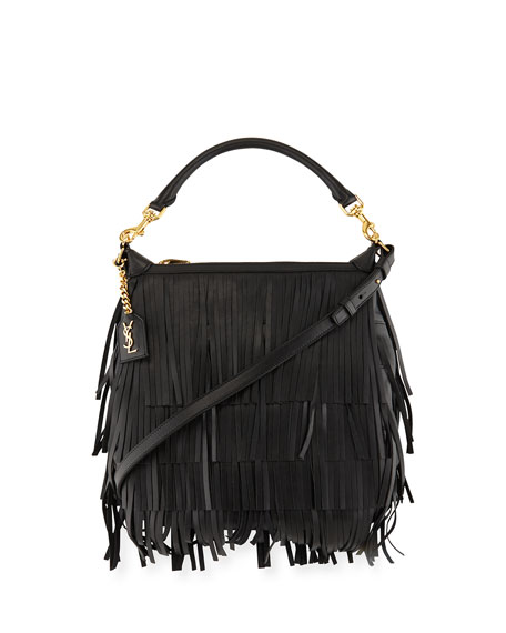 messenger basg - Saint Laurent Emmanuelle Small Leather Fringe Hobo Bag, Black