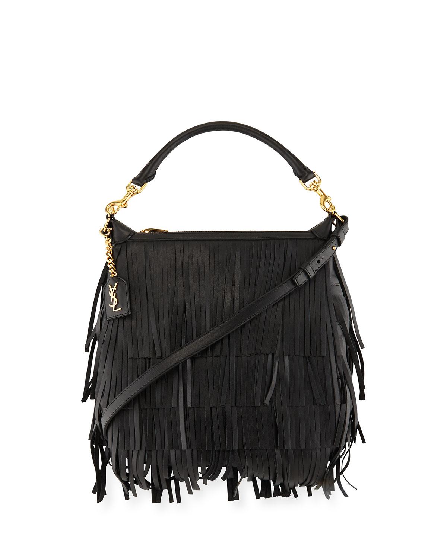 Emmanuelle Small Leather Fringe Hobo Bag Black