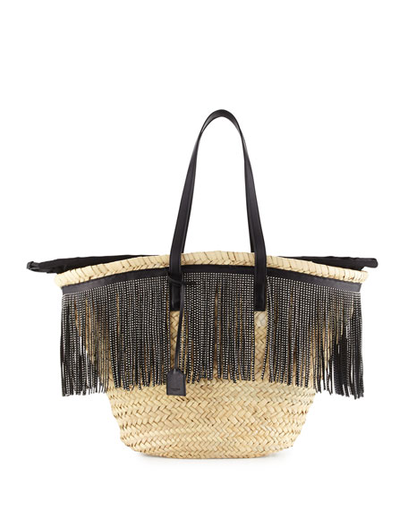 Saint Laurent Cesto East-West Fringe-Trim Woven Tote Bag, Natural/Black