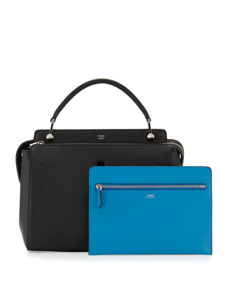 Fendi Dotcom Medium Leather Satchel Bag, Black/Royal Blue