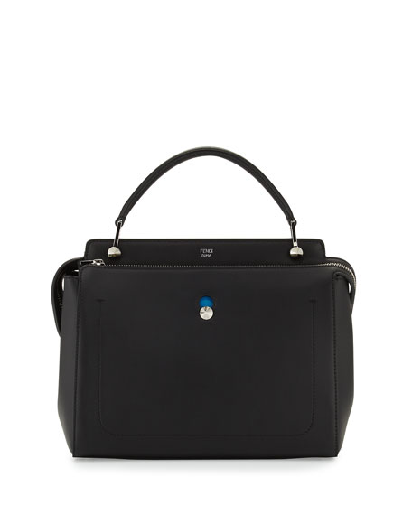 Fendi Dotcom Medium Leather Satchel Bag, Black/Royal Blue