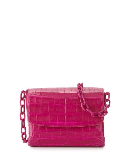 Nancy Gonzalez Crocodile Triple-Gusset Mini Crossbody Bag, Pink