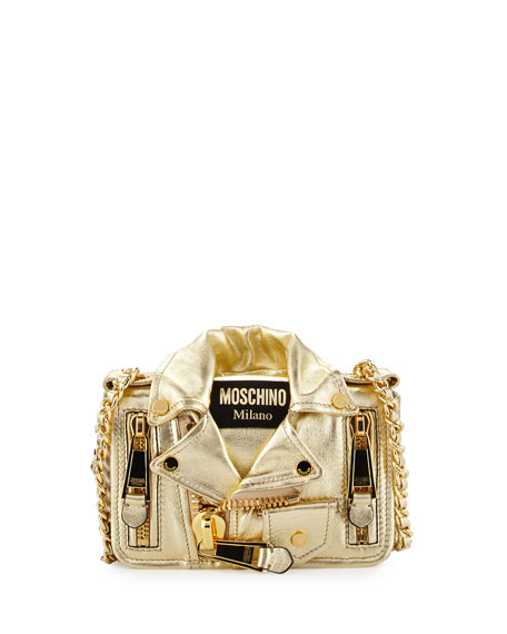 Moschino Small Moto Jacket Shoulder Bag, Gold