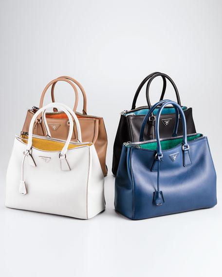 City Calfskin Bicolor Double-Zip Galleria Tote Bag, White/Yellow (Talco+Mimosa)